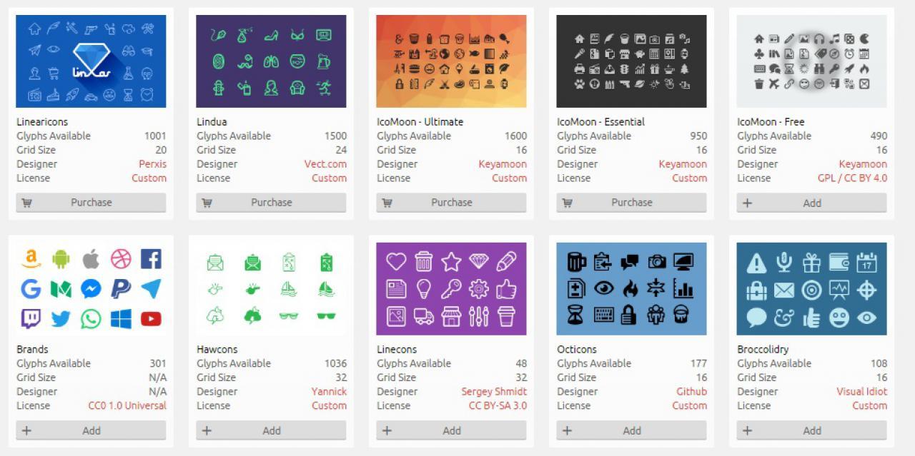 icomoon icons -gnutec